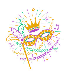 Mardi gras mask icon vector