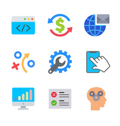 marketing and seo colored trendy icon pack 1 vector image
