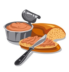 Meat pate on sliced bread vector