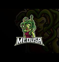 Medusa mascot sport logo design vector