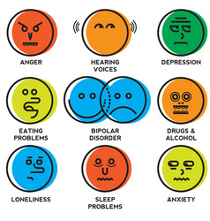 Mental health problems icons vector