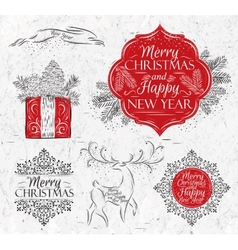 Merry Christmas graphics elegant vintage vector image