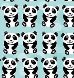 Panda Seamless pattern with funny cute animal on a vector image
