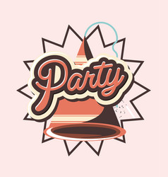 party hat retro decoration greeting card vector image