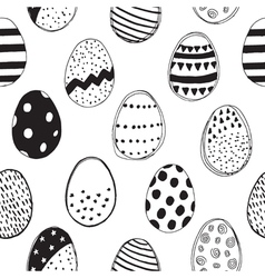 pattern with easter eggs black and white vector image