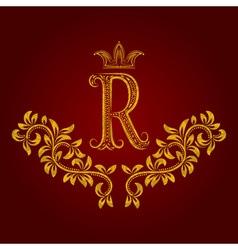 Patterned golden letter r monogram in vintage vector