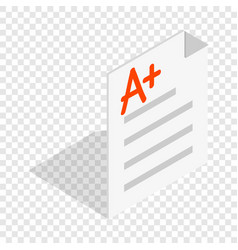 perfect grade on a paper test isometric icon vector image