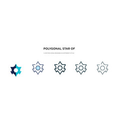 Polygonal star six points icon in different vector