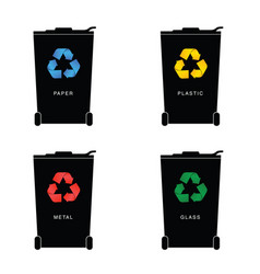 recycle trashcan set with icon on it vector image