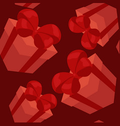 red gifts seamless pattern vector image