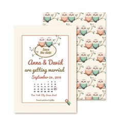 Retro invitations with the couple wedding cute vector