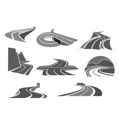 roads and highways isolated icons vector image
