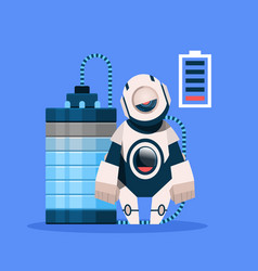 robot with low battery charging isolated on blue vector image