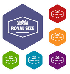 royal crown icons hexahedron vector image