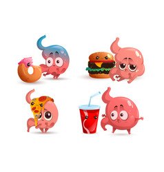 Sad stomach character with fast food vector