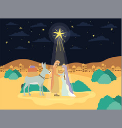 Saint joseph and mary virgin in mule manger vector