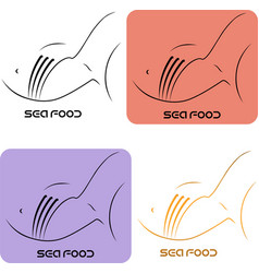 seafood logo fish and fork using negative space vector image