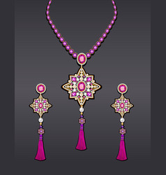 set jewelry with precious stones and tassels vector image