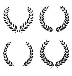 set laurel wreaths different shapes vector image