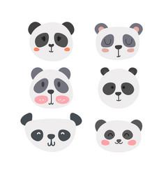 Set of cute pandas funny doodle animals little vector