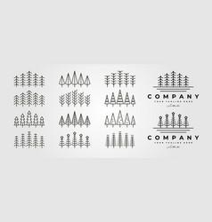 set pines thin line icon logo symbol design vector image