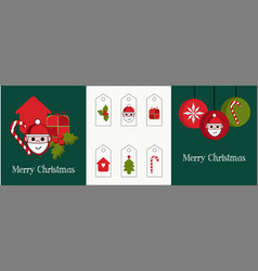 Set two cards and different tags for gifts vector