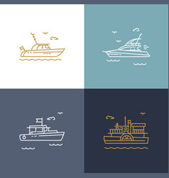 Ships yachts contour icons vector