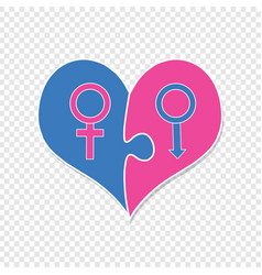 Signs of venus and mars inside of puzzle heart vector