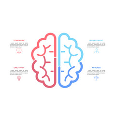 silhouette human brain drawn with colorful vector image