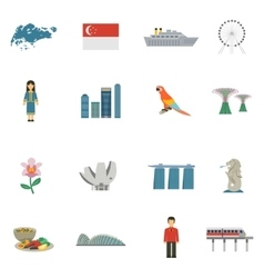 Singapore Culture Flat Icons Set vector image