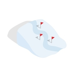 Ski route icon in isometric 3d style vector