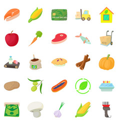 street market icons set cartoon style vector image