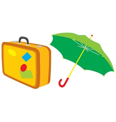 Suitcase and umbrella vector image