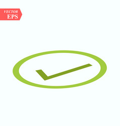 symbol of checked thin green icon of multimedia vector image