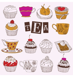 Tea Cupcakes vector image