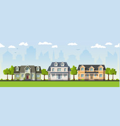 Three classical country house in the suburbs vector