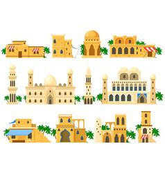 Traditional ancient arabic architecture mud brick vector
