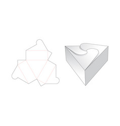 Triangle gift box die cut template design vector