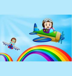 two air plane flying over rainbow vector image