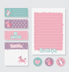 Unicorn printable set vector