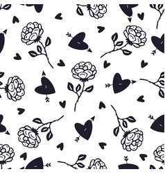 vintage black and white roses background floral vector image