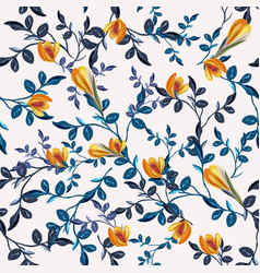 vintage seamless floral pattern with blue leaves vector image
