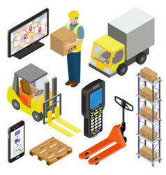 Warehouse logistics delivery isometry vector