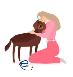 woman veterinarian hugging dog vector image