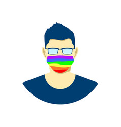 young man character in protection face mask lgbt vector image