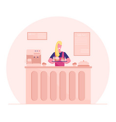 Young woman confectioner in cook apron holding vector