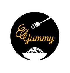 Yummy noodle logo with fork vector