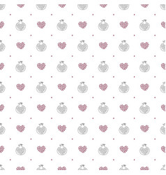 Abstract pomegranate and stylized hearts pattern vector
