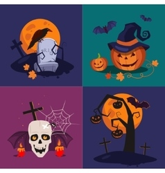 Halloween Pumpkin Skull and Grave vector image vector image