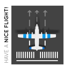 Plane on the runway at the airport Top view vector image vector image